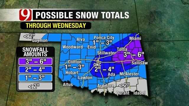 Meteorologist Jed Castles: More Snow, Sleet On Wednesday In Oklahoma