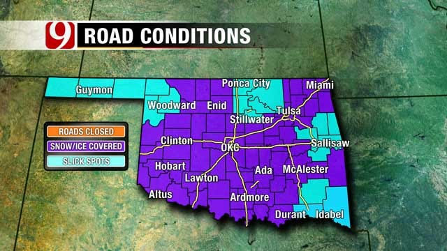 OK Winter Weather Closes Schools, Cancels Flights, Cause Slick Road Conditions