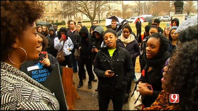 Students Gather At OU Campus To Protest Against Fraternity Racist Video