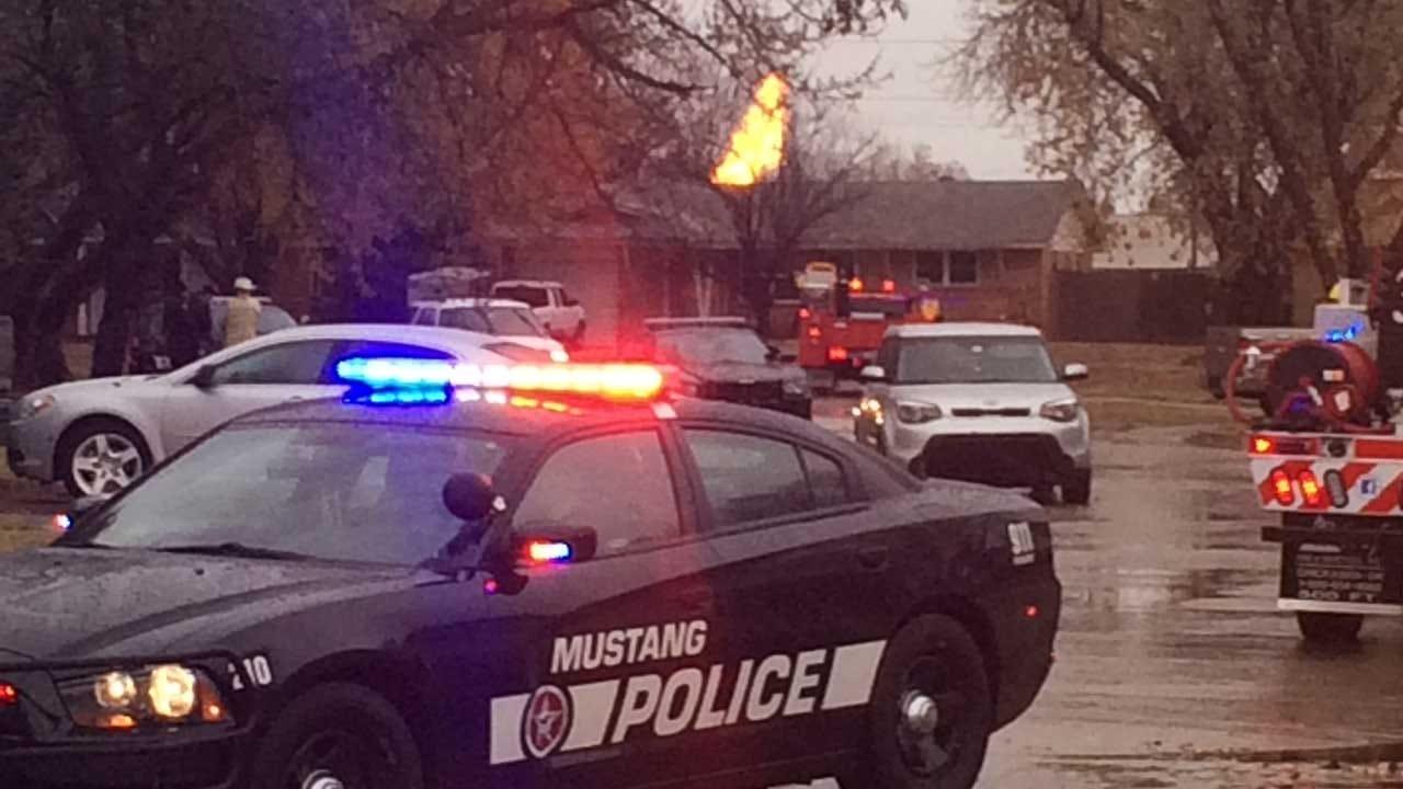 Gas Fire Prompts Evacuations In Mustang Neighborhood