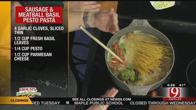 Sausage and Meatball Basil Pesto Pasta