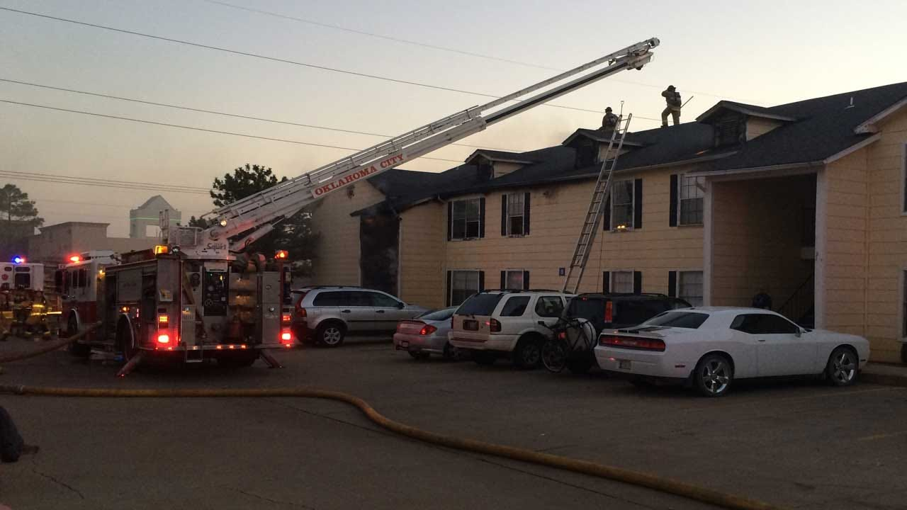 Fire Crews Battle Blaze At North OKC Apartment Complex