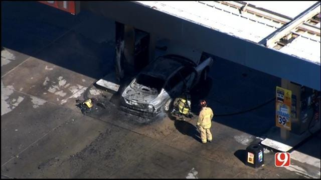 Crews Respond To Vehicle Fire At Gas Station In South OKC