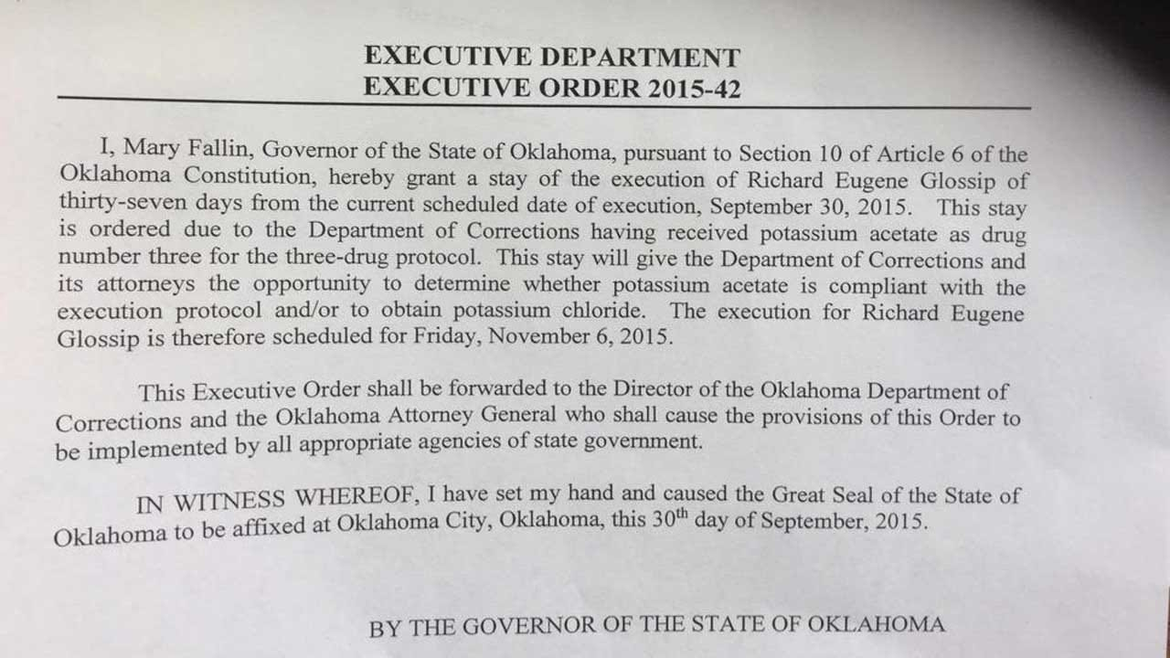 Gov. Mary Fallin Issues 37-Day Stay Of Execution For Richard Glossip