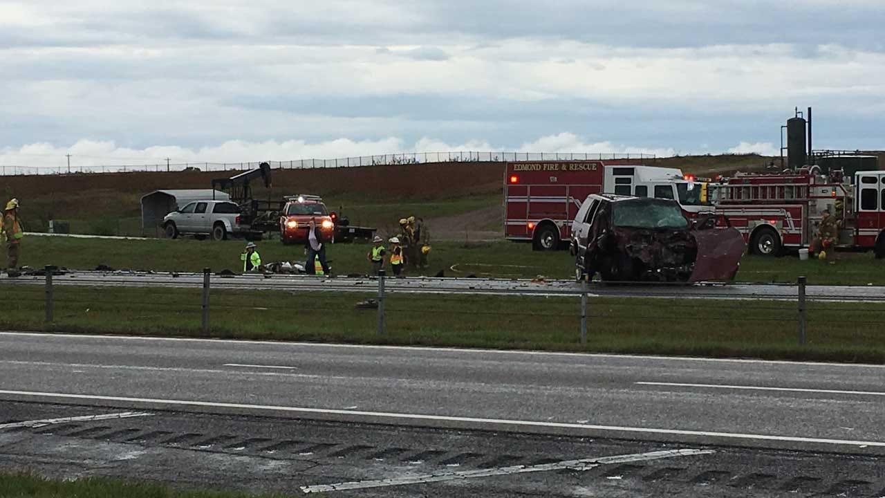 Emergency Crews Respond To Fatal Car Crash In Edmond