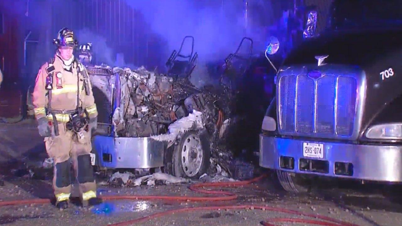 Two Semi Trucks Catch Fire In SE OKC