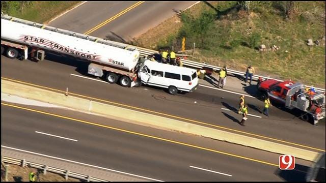 One Killed In Crash Involving Van, Tanker On Turner Turnpike
