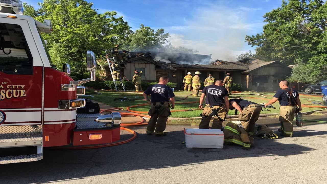 Village Fire Department, OKCFD Crews Battling House Fire