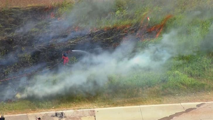 Crews Battle Grass Fire In SW OKC