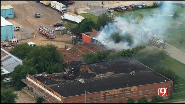 Crews Battle Commercial Fire Near Downtown OKC