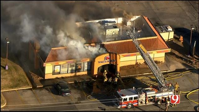Fire Crews Battle Blaze At Fast Food Restaurant In MWC