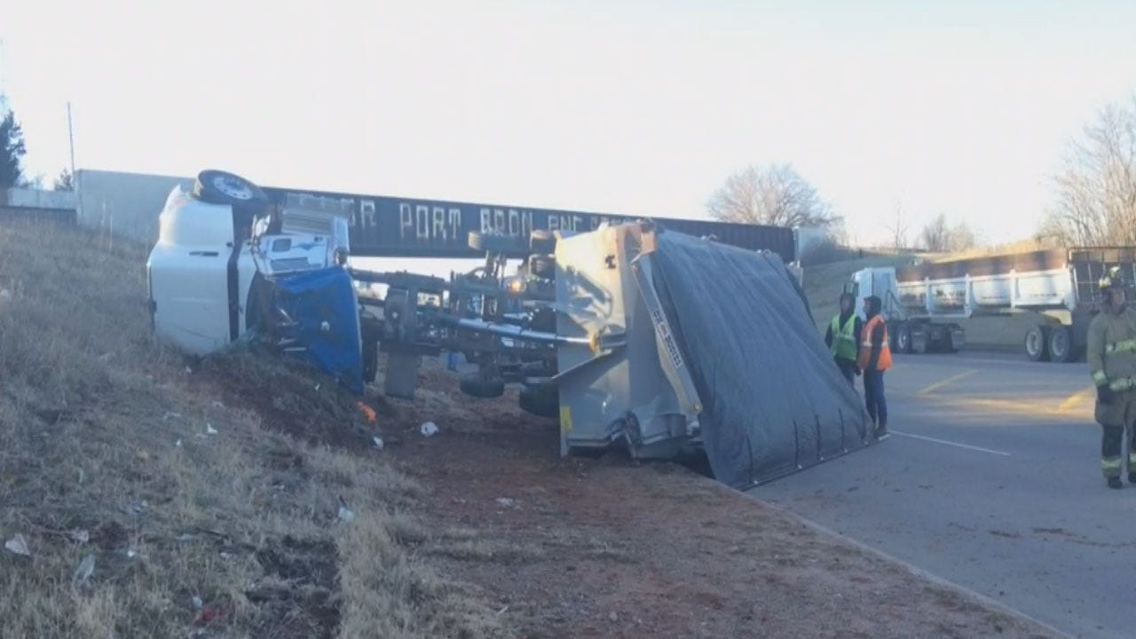 Driver Injured After Semi-Truck Overturns In OKC