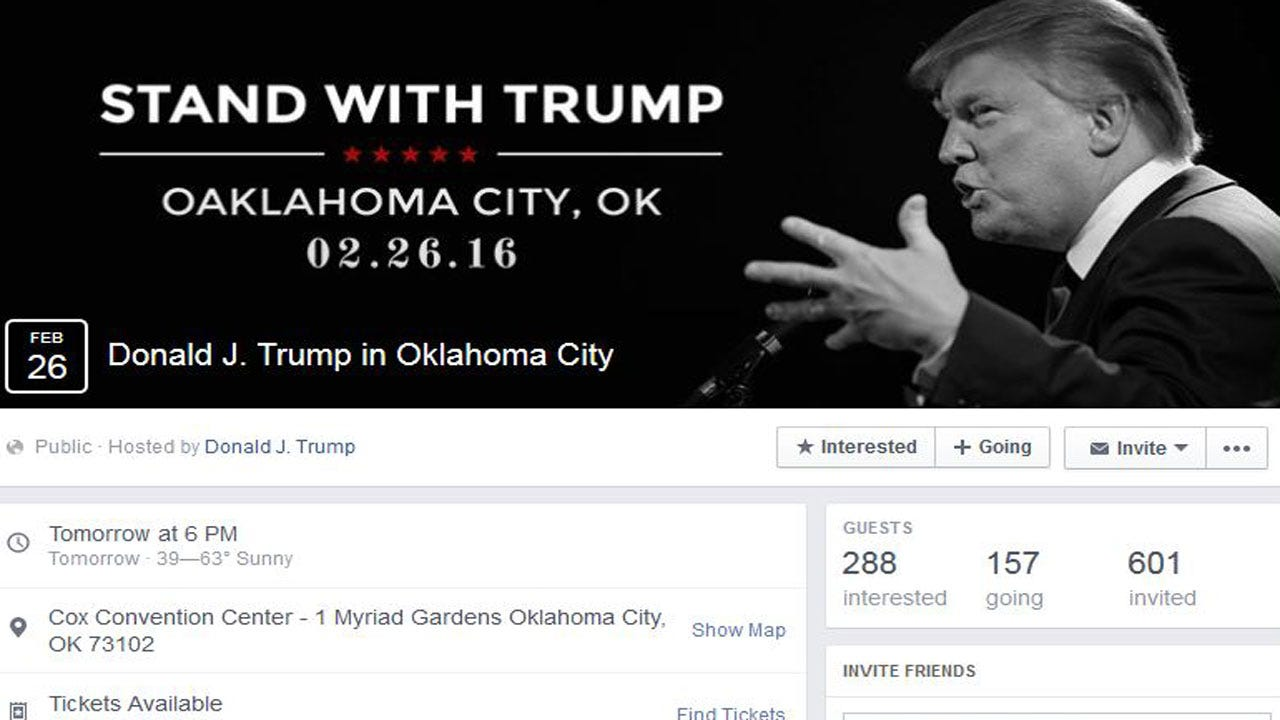 Oaklahoma? Trump's Official Facebook Event Page Misspells Oklahoma City