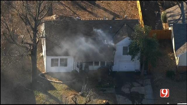 Crews Battle House Fire In Bethany