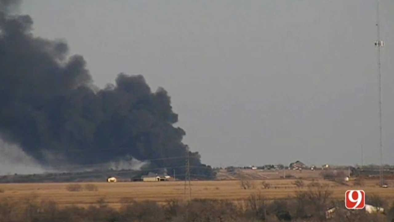 Crews Responded To Large Fracking Operation Fire In Grady County