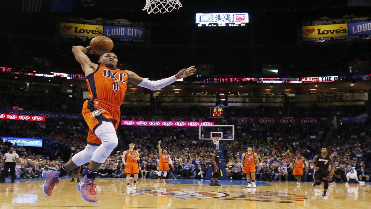Westbrook's Second Straight Triple-Double Leads Thunder Past Heat