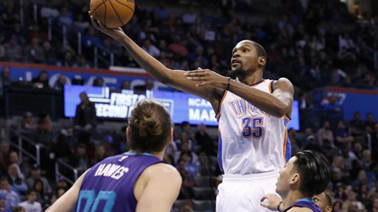 Durant's 26 Points Lead Thunder Past Hornets