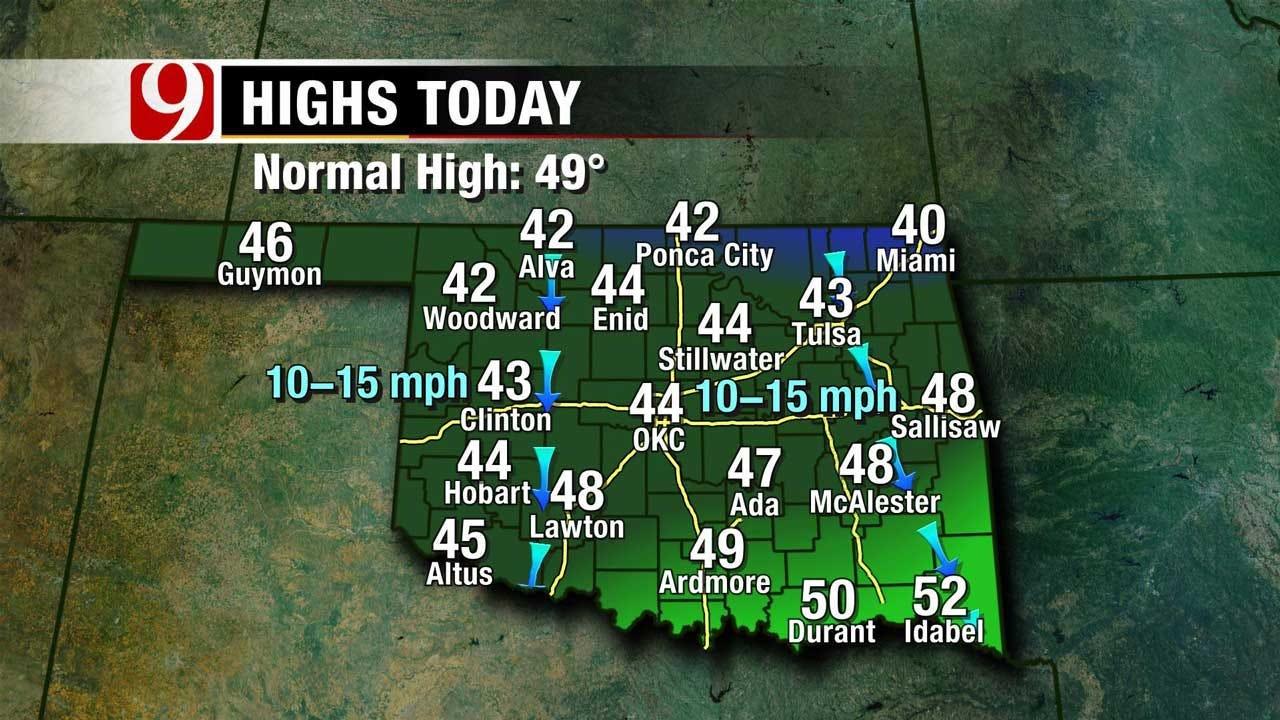 Cool Temperatures But Plenty Of Sunshine Sunday Across Oklahoma