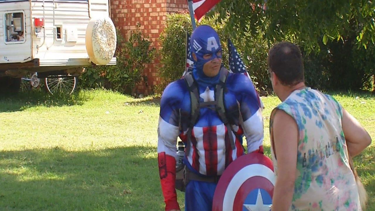 'Captain America' Walks To OKC To Raise Awareness Of Veterans