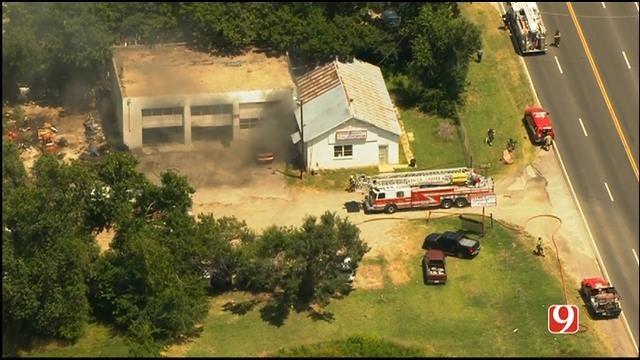 Crews Battle Fire At Auto Repair Shop In NE OKC