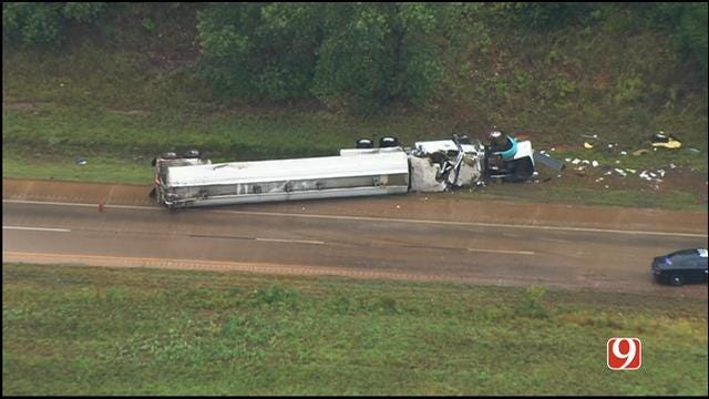 Overturned Semi Leaking Fuel Shuts Down I-35 SB In Logan Co.