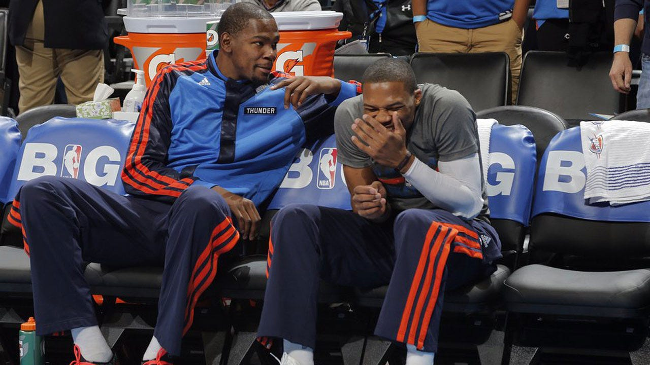 Russell Westbrook Laughs When Asked About Kevin Durant