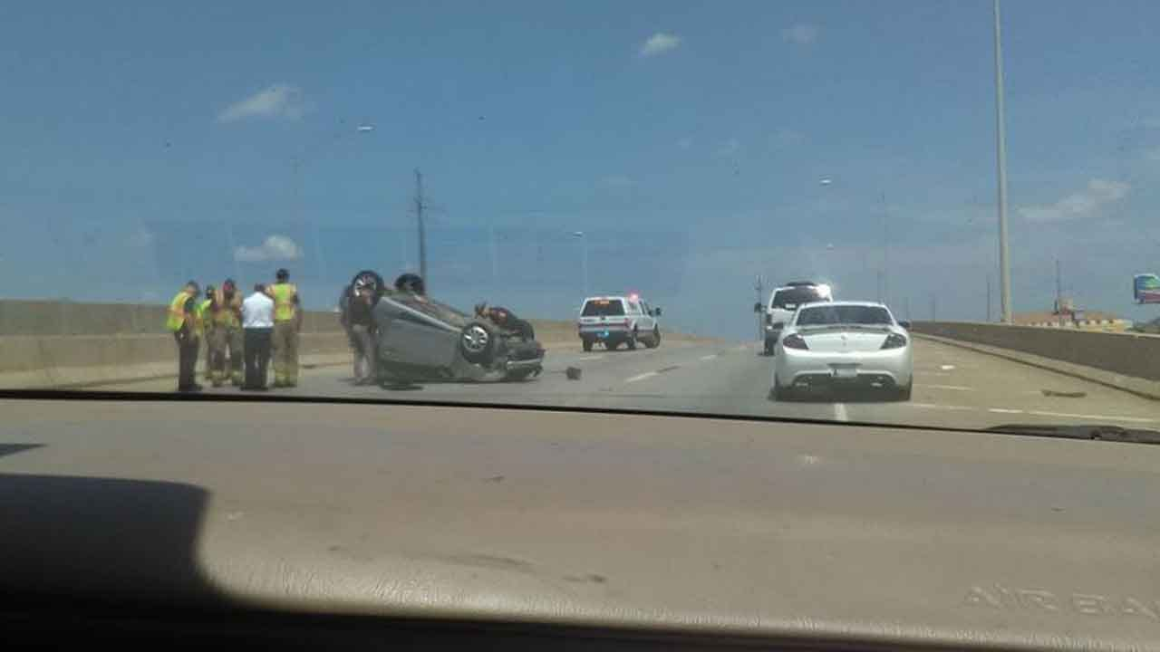 Rollover Crash Slows Traffic On EB I-44 In NW OKC