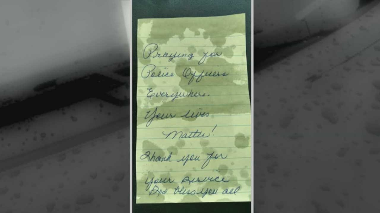 Anonymous Notes Of Encouragement Left At Oklahoma Co. Sheriff's Office