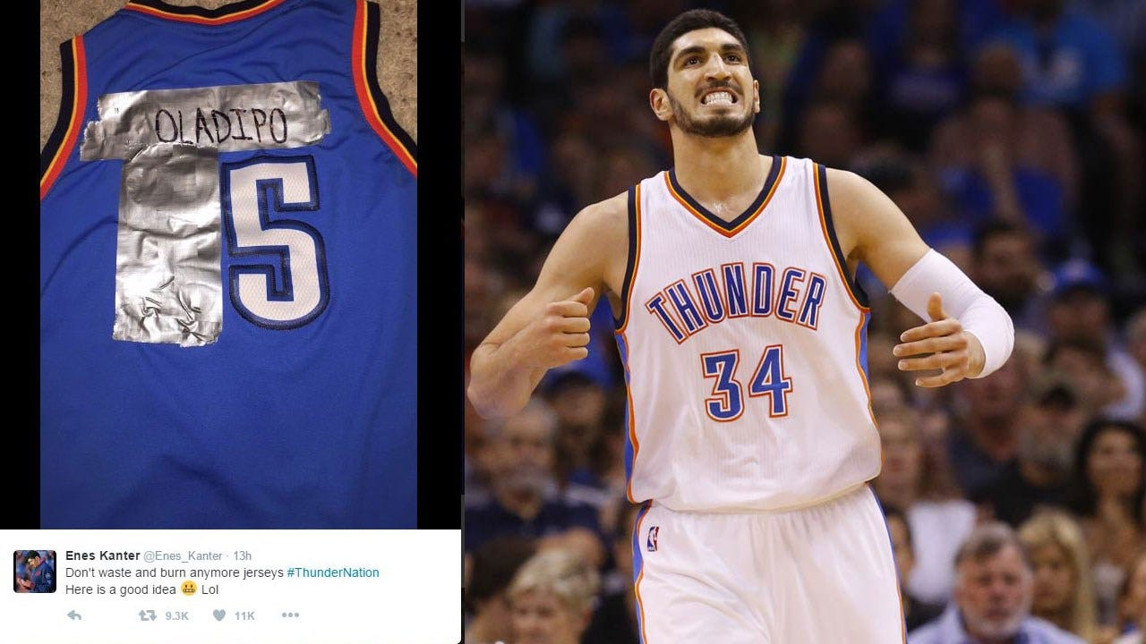 Kanter: 'Don't Waste and Burn Anymore Jerseys'