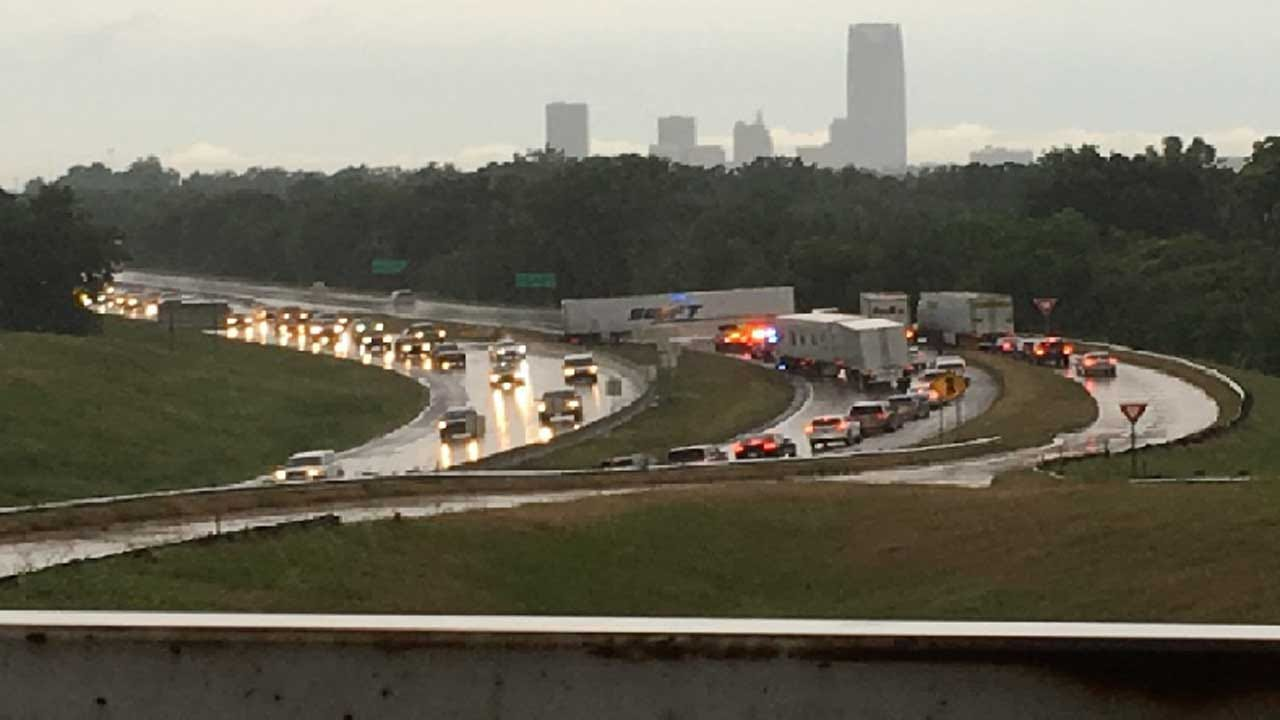Two Separate Semi Accidents Block Traffic In OKC