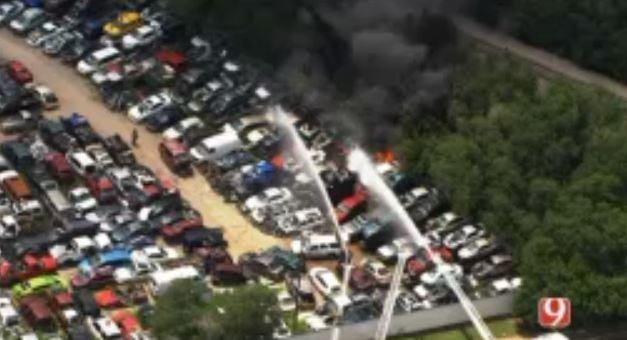 Salvage Yard Catches Fire In SW OKC