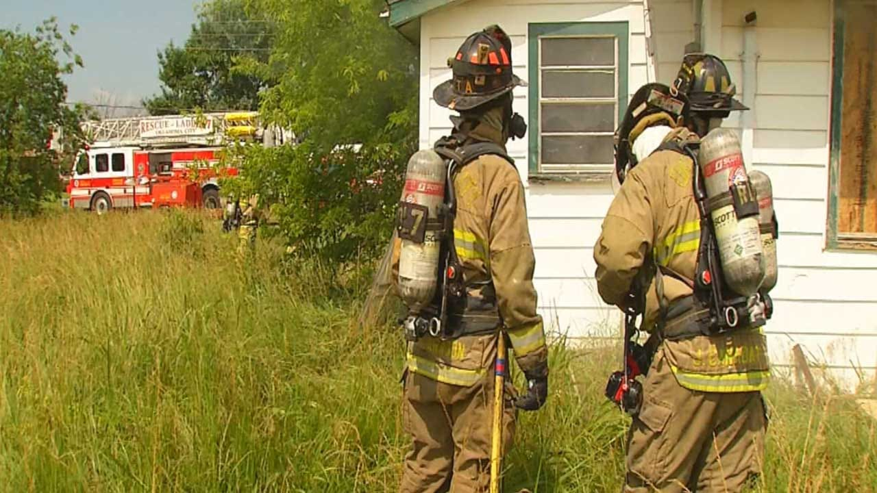 OKC Firefighters Use A Vacant House For Fire Response Training