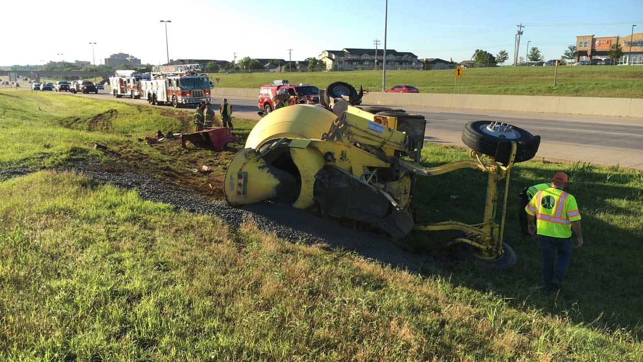 Driver Injured After Cement Truck Rolls Over On Kilpatrick Turnpike