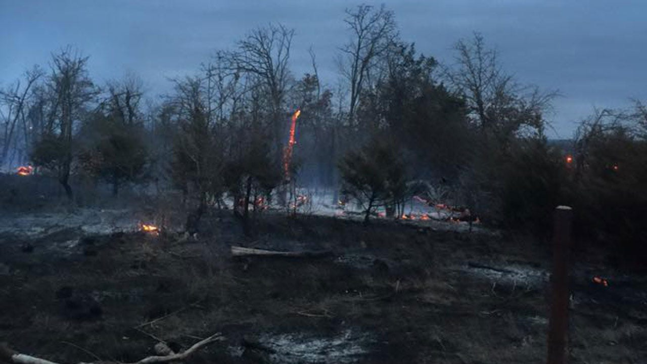 Crews Contain Large Grass Fire Near Luther