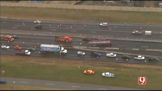 SB I-35 Reopens In Norman After Jack-Knifed Semi Spills Diesel