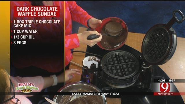 Dark Chocolate Waffle Sundae with Hot Banana Sauce