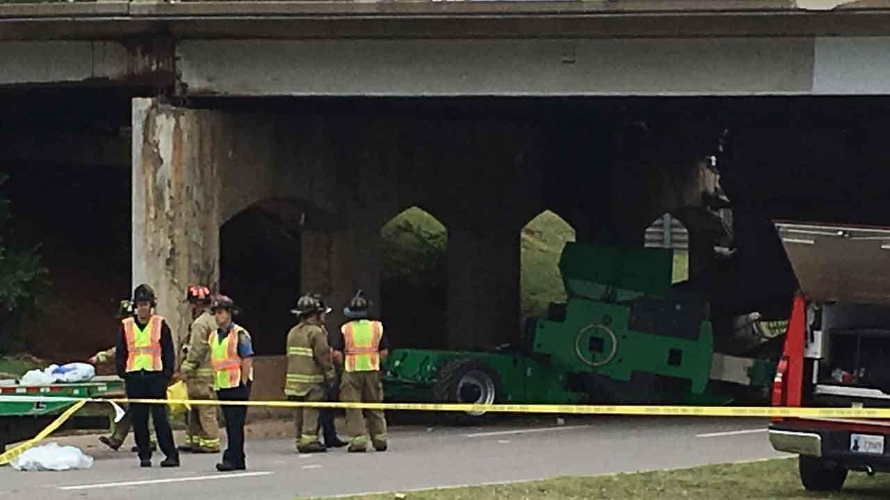 Semi Crash Collapses NB May Ave. Bridge Onto Northwest Expressway