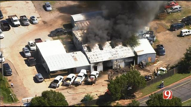 Crews Contain Fire At Auto Shop In South OKC