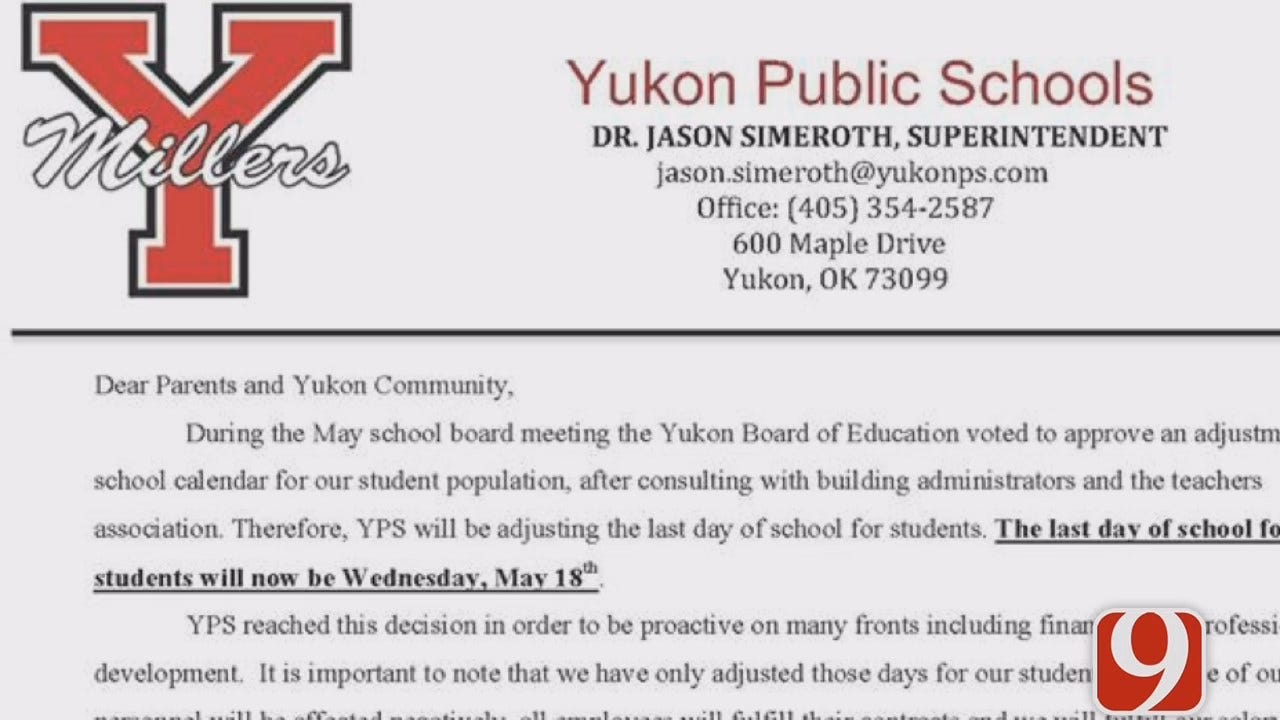 Yukon Public Schools To End Year Two Days Ahead Of Schedule