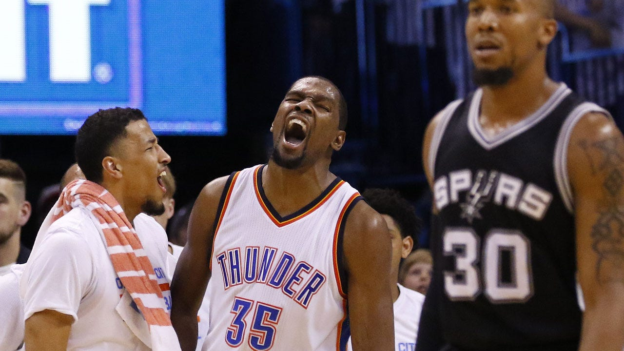 Kid Clutch: Durant Scores 41 As Thunder Even Series With Spurs