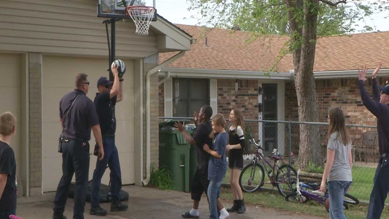 Yukon Firefighters Buy Basketball Goal For Boy