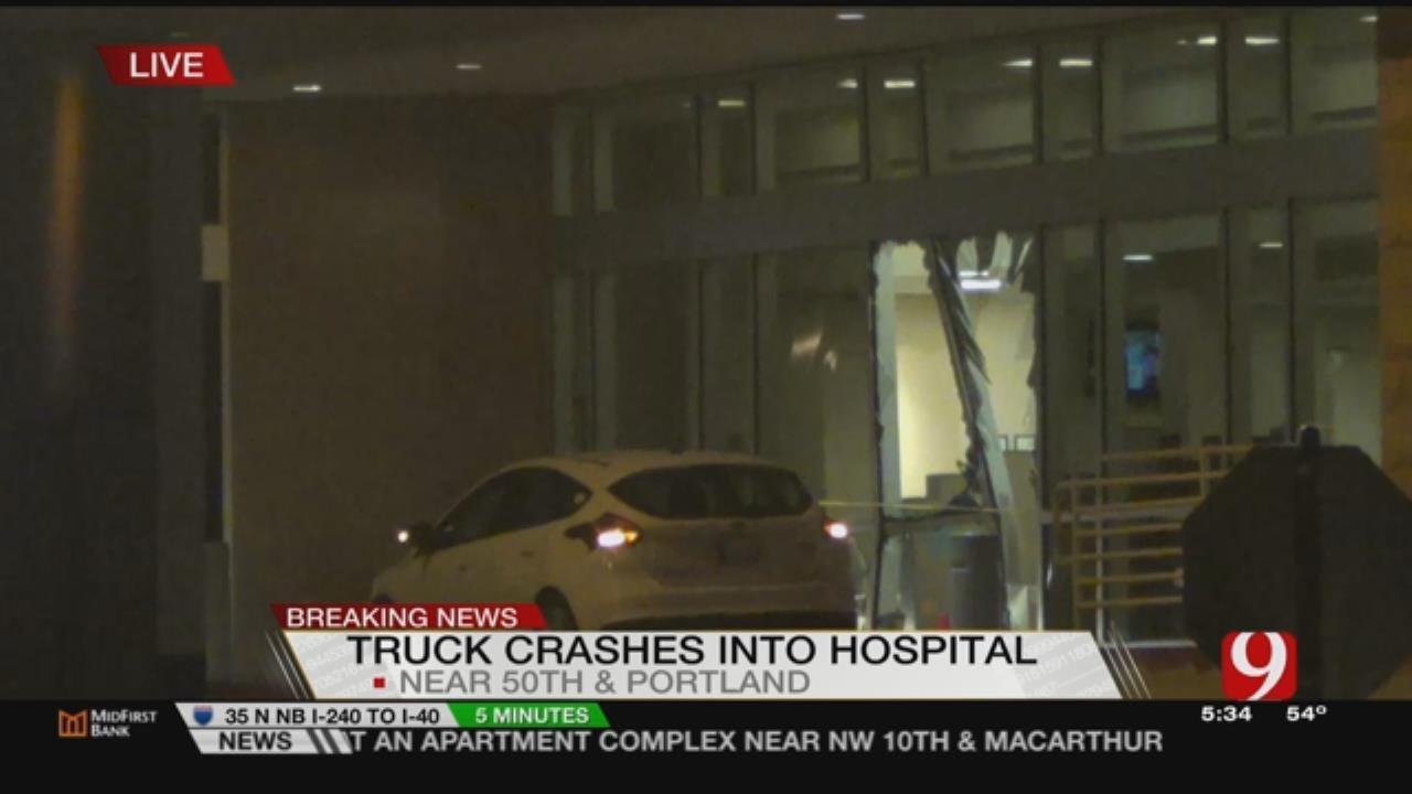 Car Crashes Into Hospital Lobby In NW OKC