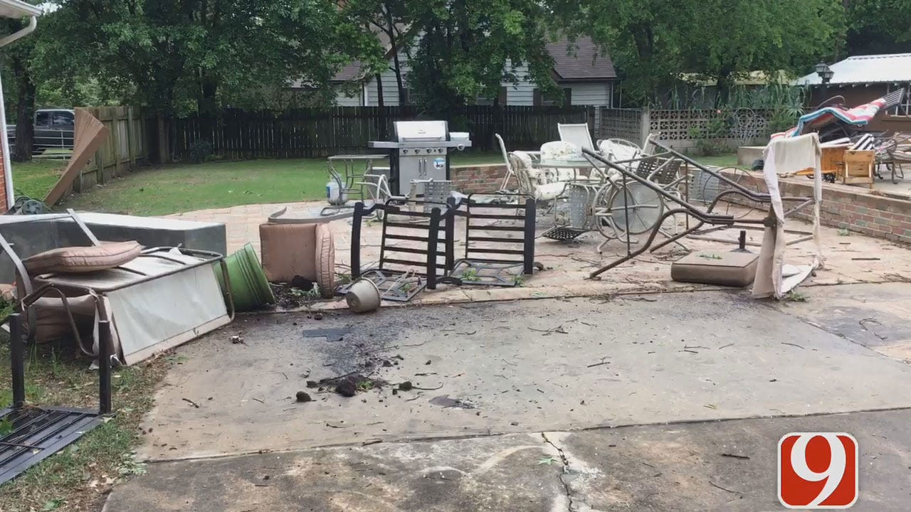 Holdenville Property, Trees Damaged In Severe Storm