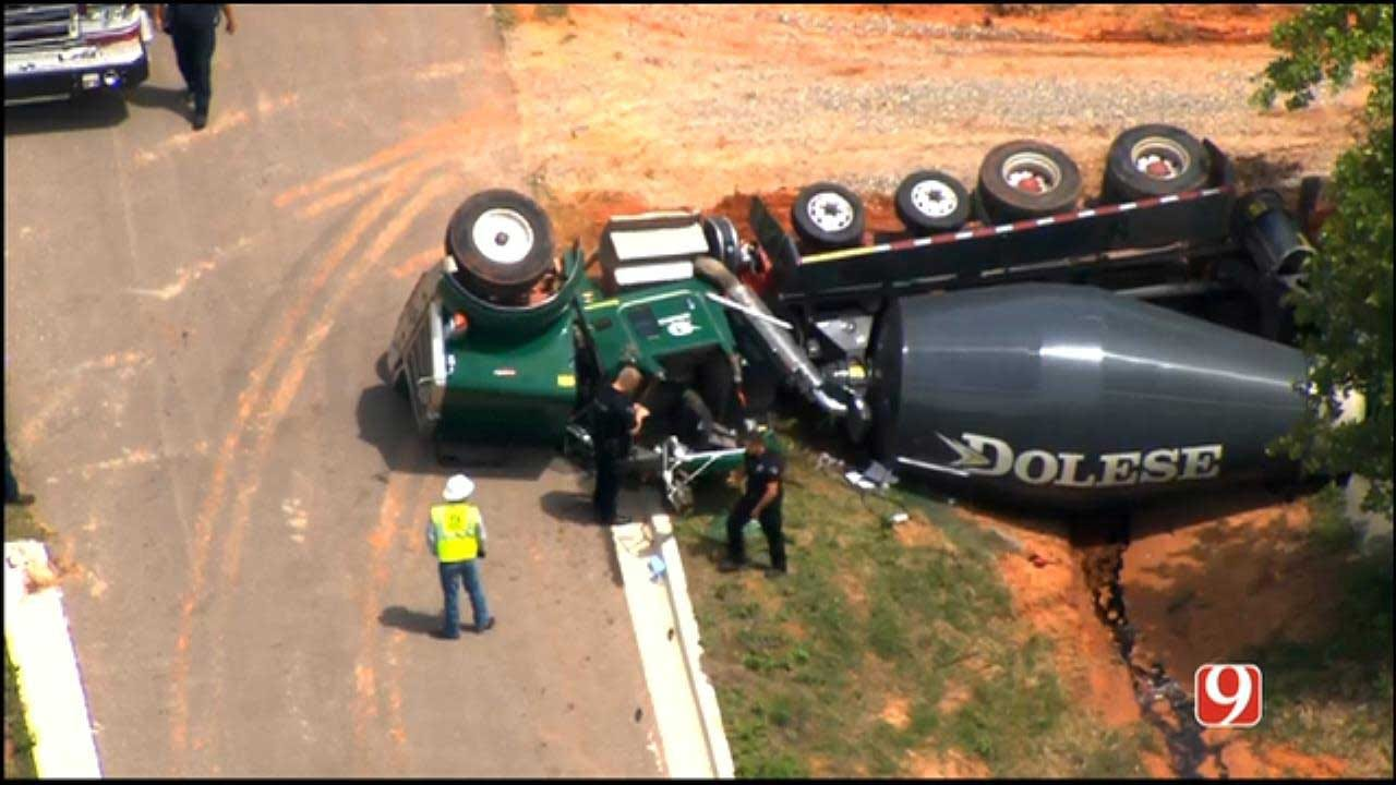 Emergency Crews Respond To Rollover Involving Cement Truck In SE OKC