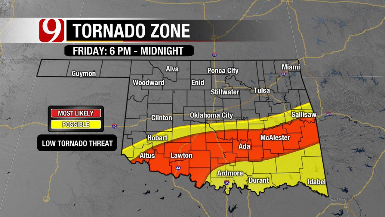 Snow, Tornadoes, Hail, Flooding Rainfall Possible for Oklahoma This Weekend