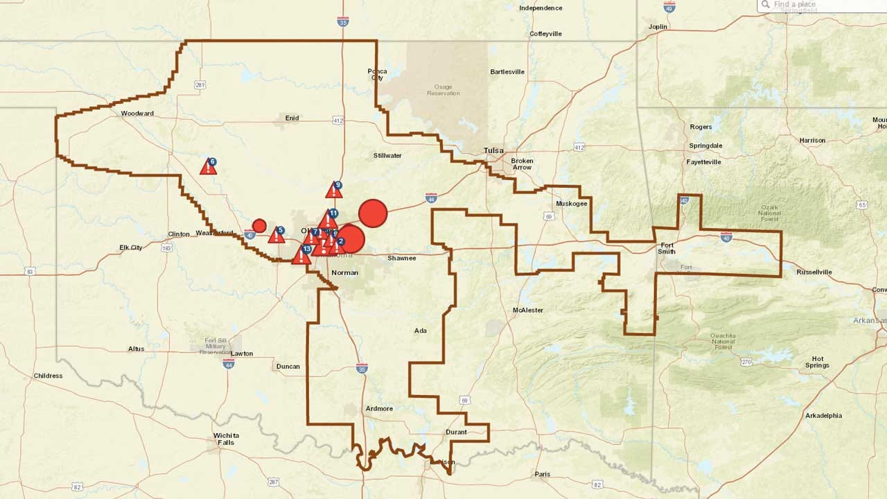 OG&E: Widespread Power Outages Reported In Central OK