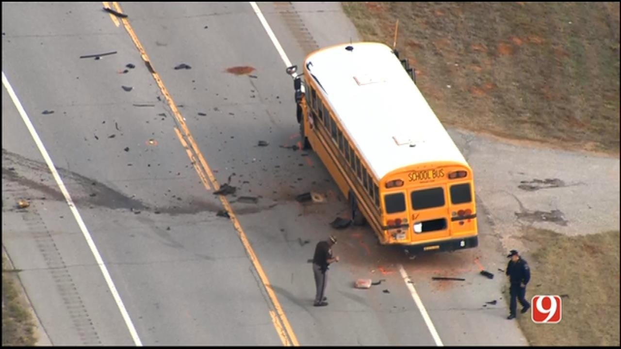 At Least 1 Dead In School Bus, Truck Accident Near Binger