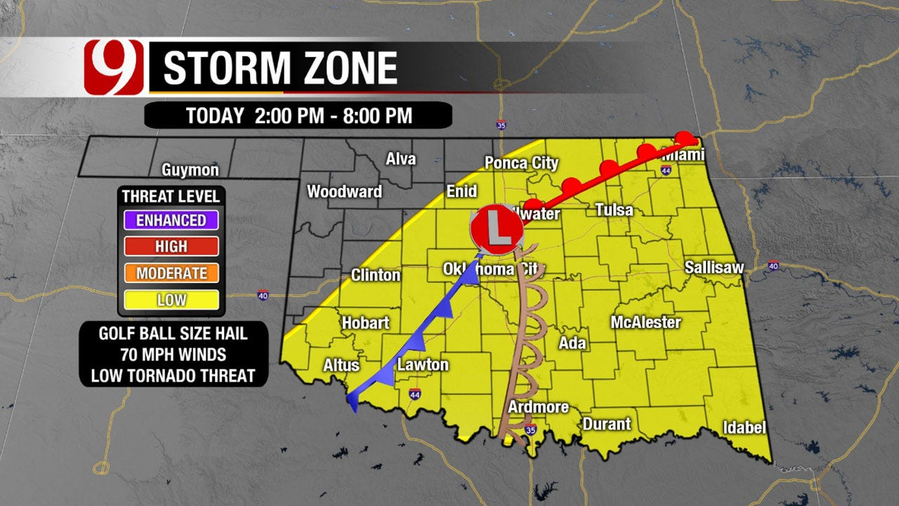 Snow In Panhandle, Chance For Severe Storms In Central, Eastern OK Tuesday