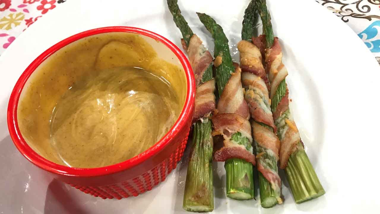 Asparagus Wraps With Curry Mustard Sauce