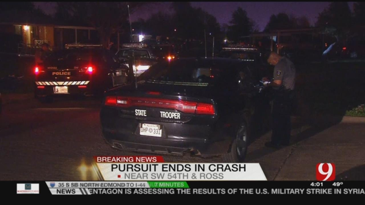 Police Chase In SW OKC Ends In Crash; Two Arrested, One Outstanding